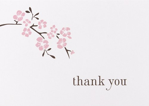 Hortense B. Hewitt Thank You Note Cards, 4.8 x 3.5, Cherry Blossom, 50 Count -