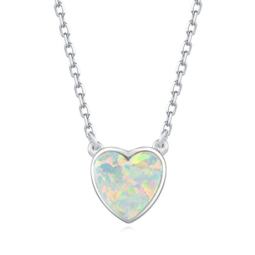 Carleen 18K White Gold Plated 925 Sterling Silver Heart Created Opal Dainty Pendant Necklace for Women Girls with 15.75