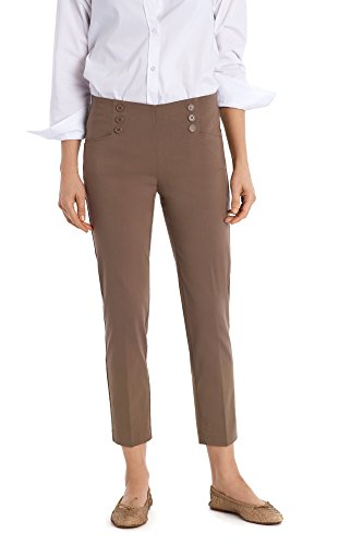 89th + Madison Womens Button Front Easy Fit Ankle Pant