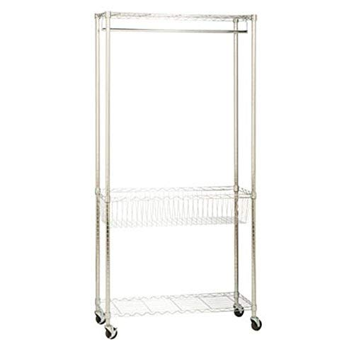 HoneyCanDo SHF04272 Rolling Laundry Station with Adjustable Baskets 355 x 135 x 755 Chrome