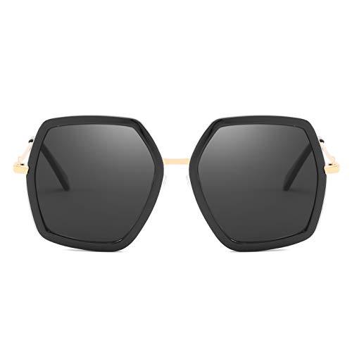 Oversized Square Sunglasses for Women Retro Chic Metal Frame UV400 Geometric Brand Designer Shades (C1 Black Frame/Black Lens)