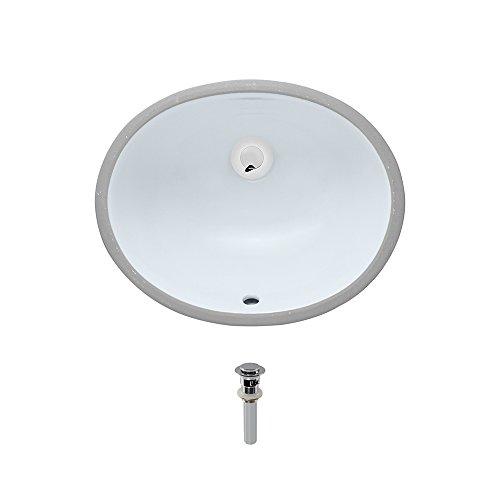 UPS-White Undermount Porcelain Bathroom Sink Ensemble, Chrome Pop-Up Drain by MR Direct