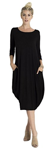 Tabeez Women's Casual 3/4 Sleeve and Long Sleeve Loose Bubble Jersey Shift Cocoon Midi Dress (Made In The USA),Black,Small