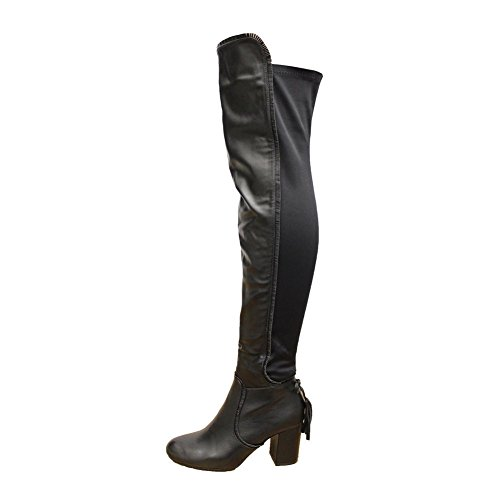 High Block STYLES Size 3 Faux Party Knee Boots Thigh SAUTE Black Womens Leather The Stretch Over Heel 8 OYdqw0Fw