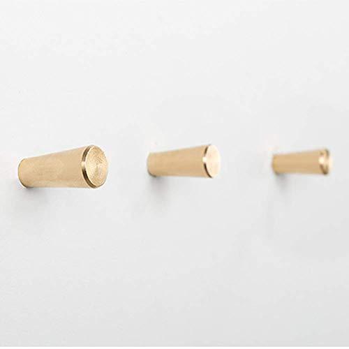 HoneiLife Coat Hooks Wall Hanger - Brass Coat Rack Wall Mounted Towel Hooks Metal Buth Hooks Kitchenware Organizer Handmade Wall Hook Rack Hat Hooks Key Holder-S,3 Pack