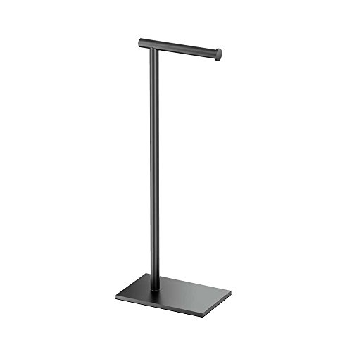 "Gatco 1431MX Modern Square Base Toilet Paper Holder Stand, Matte Black, 22.25""H"