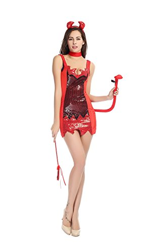 Bulacker Sequin Skirt Devil Role Play Costume Set,Red,X-Large - Sequin Devil Teen Costumes