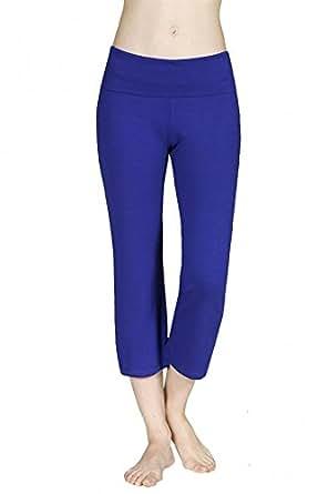 Sassy Apparel Women's Active Flare Bottom Fold Over Waist Band Capri Leggings (Small, Royal Blue)