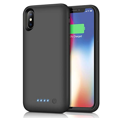 Battery Case for iPhone Xs/X/10, 6500mAh Portable Protective Charging Case for iPhone XS RechargeableExtended Battery Pack Charger Compatible with Apple iPhone X/10 Power Bank Cover (5.8 inch), Black