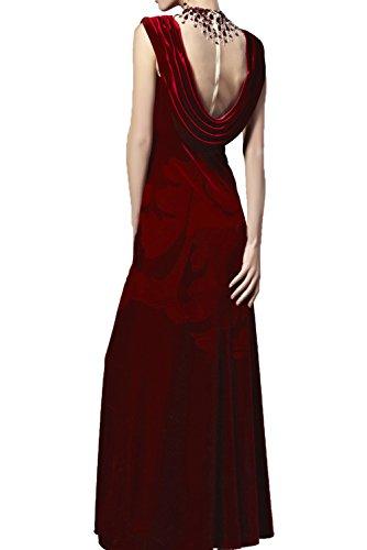 Damen Ivydressing Partykleider Neckholder Promkleider Abendkleider Applikationen Samt mit Tanzenkleider Tuell Armlos Elegant Bodenlang Rot UZrwxqdZR