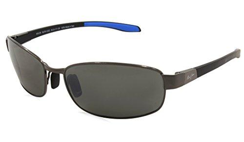 Maui Jim Maui Saltair 74102d pour homme et pour femme Lunettes de soleil Gunmetal avec Blue Gunmetal with Blue