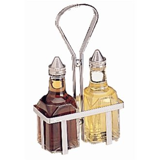 WIN-WARE Oil and Vinegar Dispenser Bottle Set with Cruet Stand / Rack