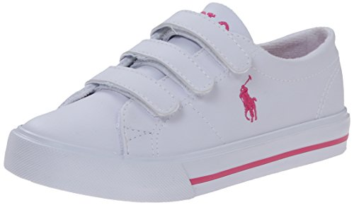Polo Ralph Lauren Kids Scholar EZ Fashion Sneaker (Toddler/Little Kid),White Tumbled Pink,7 M US - And Ralph Lauren Us Polo