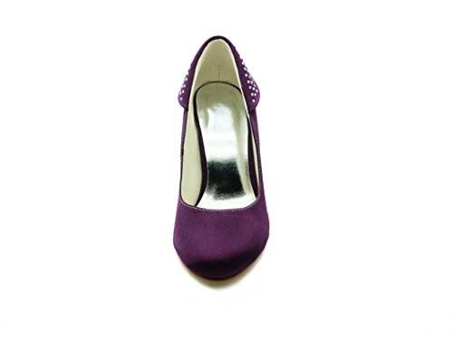 3 Shoes Party Bridal Toe Evening 8cm Inch Wedding Pumps Heel Satin Minitoo Sparkle Womens GYAYL407 Heel Closed Purple qzvwEEOHx