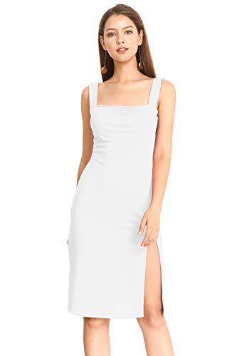 - MQGIOEA Women's Sexy Solid Square Neck Sleeveless Bodycon Midi Spaghetti Pencil Dress with Side Split (White 028, Large)