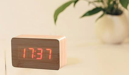 Alarm Clocks Botique Wood Cube Led Alarm Control Digital Desk Clock Wooden Style Room Temperature White Wood White Led
