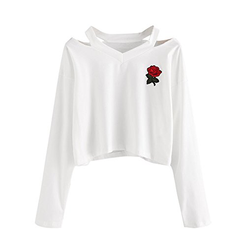 Seche Rose - HHei_K Womens Casual Long Sleeve Sweatshirt Causal Rose Embroidery Cropped Tops
