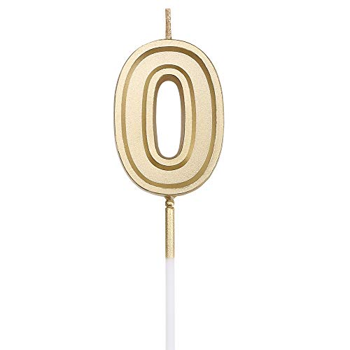 URAQT Birthday Candles Numbers, Gold Glitter Birthday Numeral Candles for Birthdays, Weddings, Reunions, Theme Party, Number 0 ()
