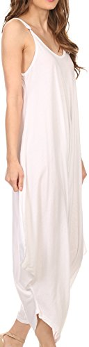 Sakkas 4008 - Ganesa Sleeveless Spaghetti Strap Long Handkerchief Full Body Jumpsuit - White - OS