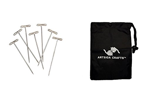 Darice Sewing T Pins 2in. 1/2 Pound/Pack (1 Pack) 38037 Bundle with 1 Artsiga Crafts Small Bag by Darice