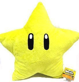 (Super Mario Brothers Plush Star 11 Inch Yellow Starman Doll)