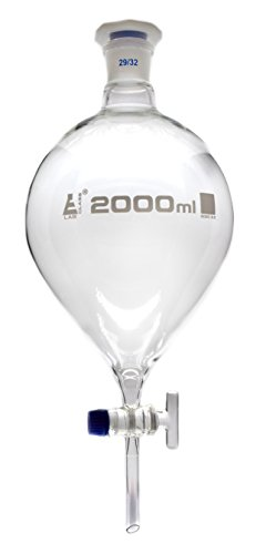 2000mL Separating Funnel, Squibb, Pear Shaped, Borosilicate Glass, Glass Stopcock, Interchangeable Plastic Stopper - Eisco Labs
