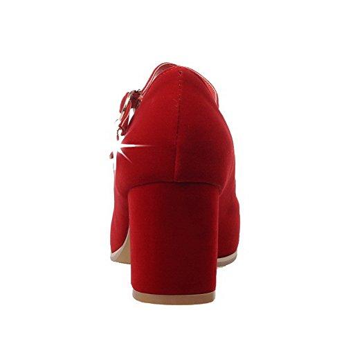 AllhqFashion Mujer Puntera Cuadrada Hebilla Gamuza(Imitado) Sólido Tacón Medio De salón Rojo