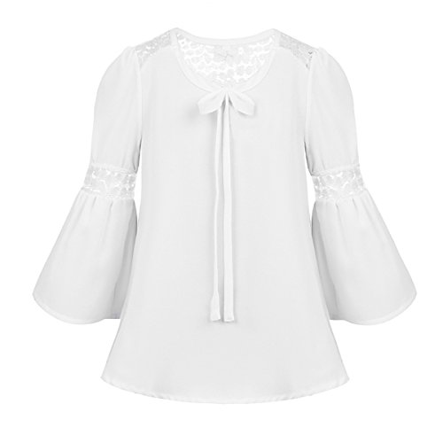 iEFiEL Big Girls School Uniforms Blouse Long Sleeve Cotton Oxford Shirt Top White Lace Bell Sleeves ()