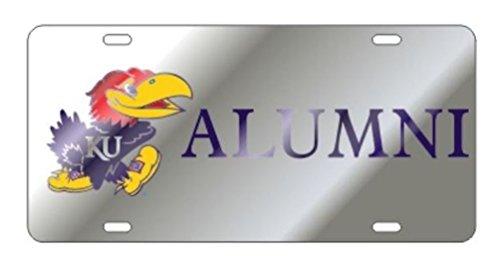 Kansas Jayhawks Laser Cut Inlaid Mirrored Silver ALUMNI Plate w/Jayhawk Logo