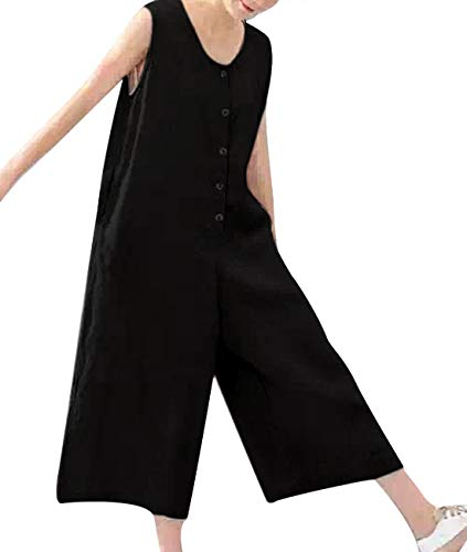 One Button Linen - YESNO P92 Women Casual Loose Cropped Overalls Jumpsuits 100% Linen Button-Up Wide Leg Low Crotch Sleeveless Pocket