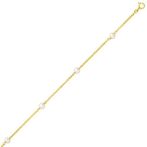 So Chic Bijoux © Collier Femme Chaîne Maille Jaseron 42 cm Perles Eau Douce Crème Ivoire Or Jaune 750/000 (18 carats)