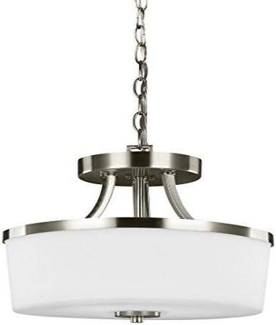 Sea Gull Lighting 7739102-962 Hettinger Two-Light Semi-Flush Convertible Pendant Hanging Modern Light Fixture