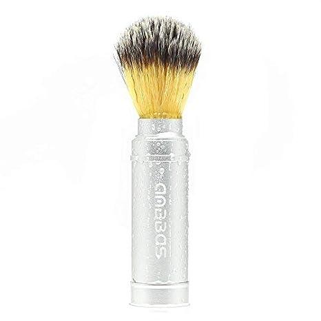 anbbas Brocha Afeitado De Viaje Para Cepillo De La Barba D el hombre .c' est Bon elección para accesorios de afeitar, color plateado