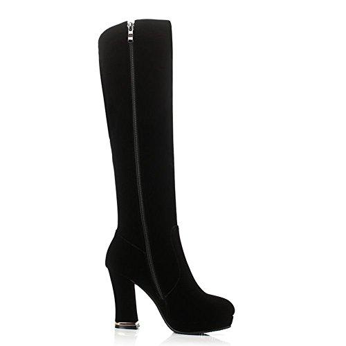 DecoStain Black Women's Boots zipper Knee High Decorate 4rYwxq4