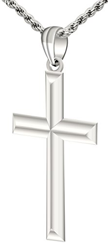 Mens 1 1/4in Solid 0.925 Sterling Silver High Polished Cross Pendant 2.3mm Rope Necklace, 18