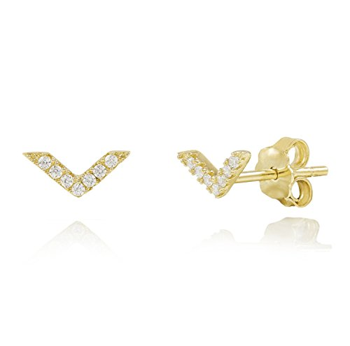 Yellow Gold Plated Sterling Silver V-Arrow Minimalist Dainty Stud Earrings (Plated Earrings Sport Gold)