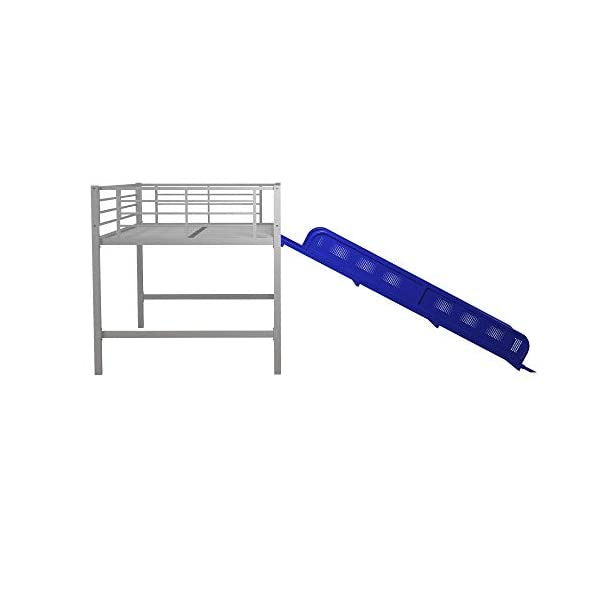 DHP Junior Twin Metal Loft Bed with Slide, Multifunctional Design, Silver with Blue Slide 5
