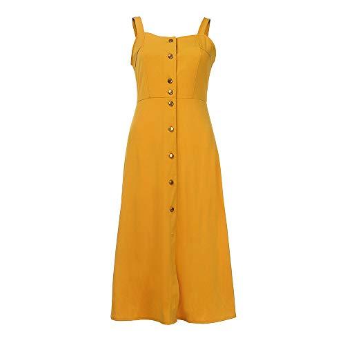 iLUGU Women Fashion Solid Sleeveless Spaghetti Strap Button Dress]()