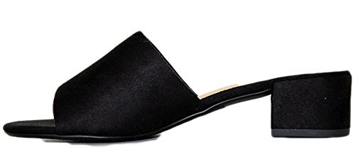 Classified Women's Black Chunky Open Sandals Suede Toe City Slide Heel dOwxndz