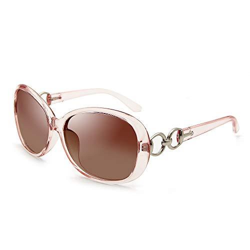 VeBrellen Luxury Women Polarized Sunglasses Retro Eyewear Oversized Goggles Eyeglasses (Transparent Pink Frame Brown Lens, ()