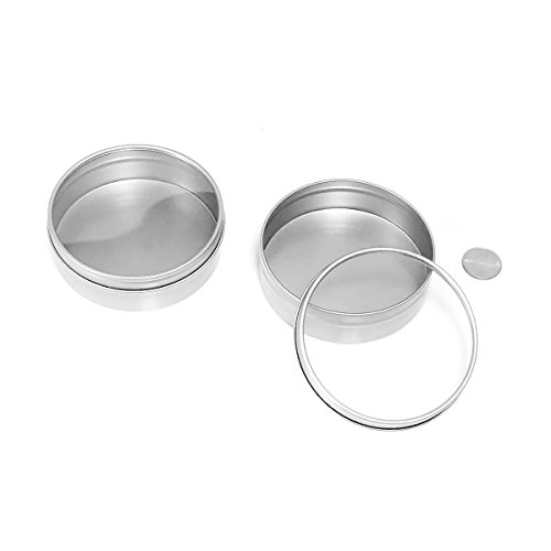 Mimi Pack 8 oz Shallow Round Tin Can Clear Window Top Lid Steel Containers For Favors, Spices, Balms, Gels, Candles, Gifts, Storage (Silver)