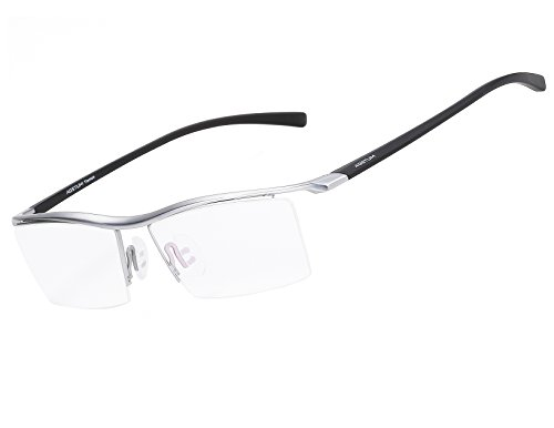 Agstum Pure Titanium Half Rimless Business Glasses Frame Optical Eyeglasses Clear Lens ()