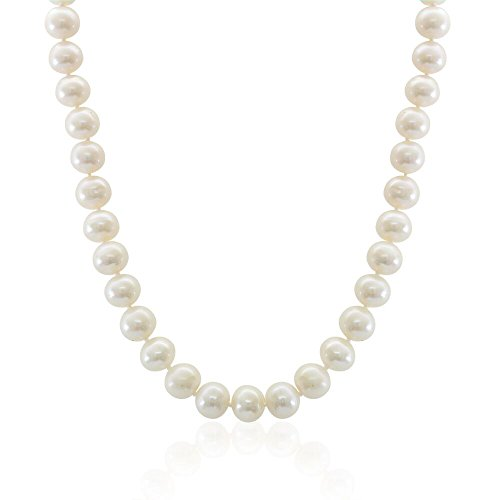 Sterling Silver White Freshwater Cultured A Quality Pearl Necklace (10-11mm), 18