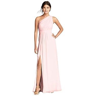 d7931724ccfdb David's Bridal Long One-Shoulder Crinkle Chiffon Bridesmaid Dress Style  F18055, Petal, ...