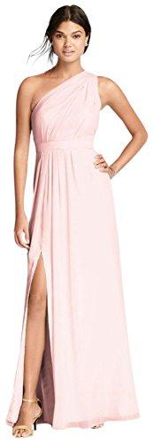 Long One Shoulder Crinkle Chiffon Bridesmaid Dress Style F18055  Petal  8
