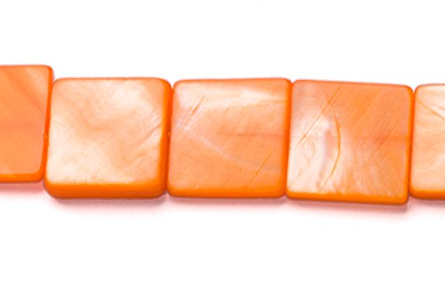 - Orange Mother-Of-Pearl Square Plate Shell Beads Size:15x15mm