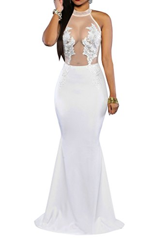 Women Sexy Floral Lace Mesh Sleeveless Backless Evening Cocktail Party Maxi Dress White 4