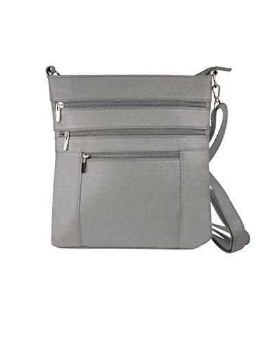 Multi Leathers Adjustable Compartment Gray Purse Roma Pocket Main Shoulder Deep Body Strap qfA5Hw6d
