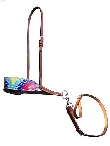 Showman Rainbow Tie Dye Print Overlay Adjustable Leather Noseband Tie Down