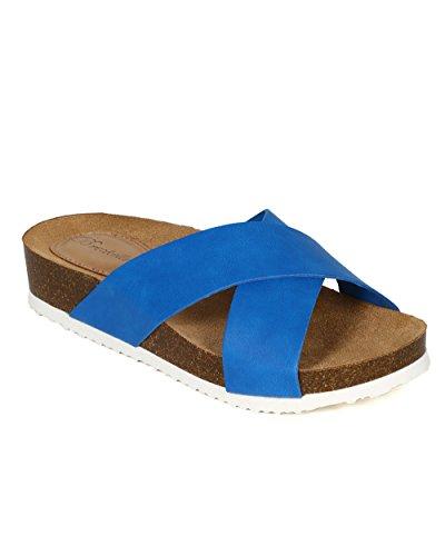 Breckelles Cd47 Dames Kunstleer Open Teen Criss Cross Slip Op Voetbed Sandaal - Blauw Kunstleer